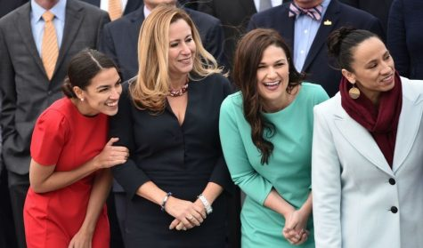 Group photo of Congress members-elect -- Alexandria Ocasio-Cortez (NY), Debbie Mucarsel-Powell (FL), Abby Finkenauer (IA) and Sharice Davids (KS)