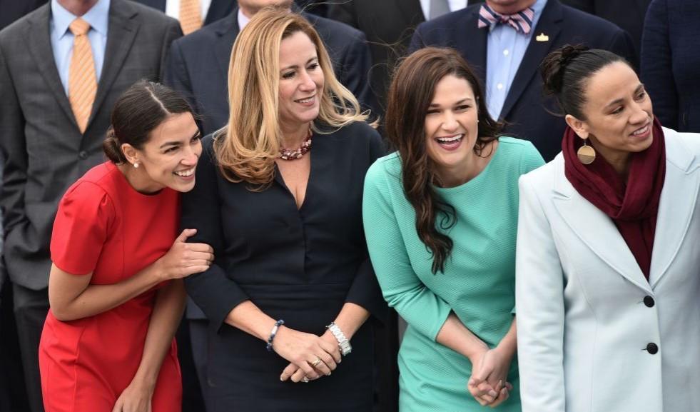 Group photo of Congress members-elect -- Alexandria Ocasio-Cortez (NY), Debbie Mucarsel-Powell (FL), Abby Finkenauer (IA) and Sharice Davids (KS)