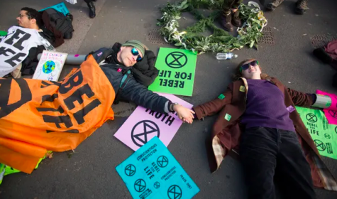 Members of the recently formed Extinction Rebellion group in Westminster.  Photo courtesy of The Guardian.