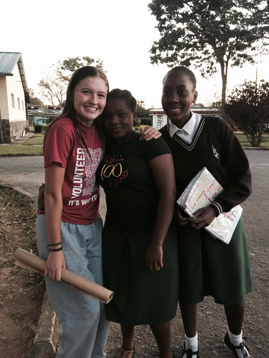 Sadie Grunau and girls from the secondary school in Ndola, Zambia.
