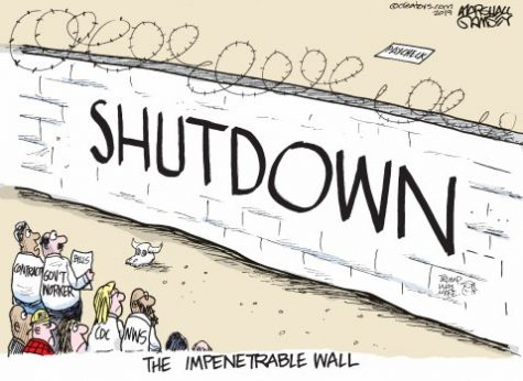 A cartoon depicts the words  [government]shutdown plastered on a border wall in between the United States and Mexico (google).