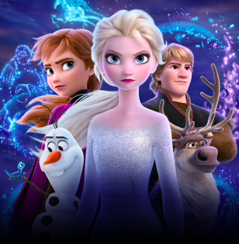 Picture via https://movies.disney.com/frozen-2 of Ana, Elsa, Olaf, Christoph, and Sphen.