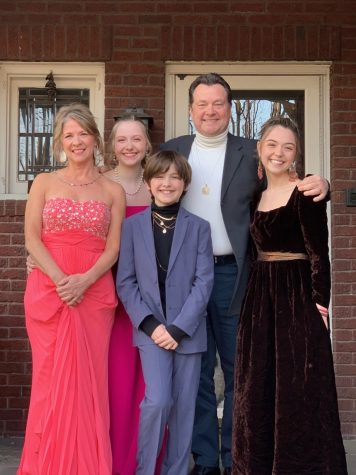 Senior Wini Bettenburg and her family dress up for their own diy social distanced prom