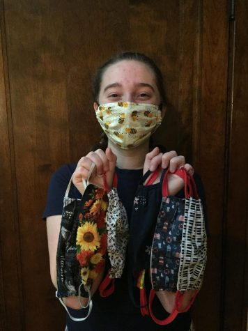 Edie with a selection of her favorite masks