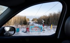 Banners and signs in protest of the Line 3 Pipeline in Palisade. Photo courtesy of Jenn Ackerman and Tim Gruber/The Guardian.