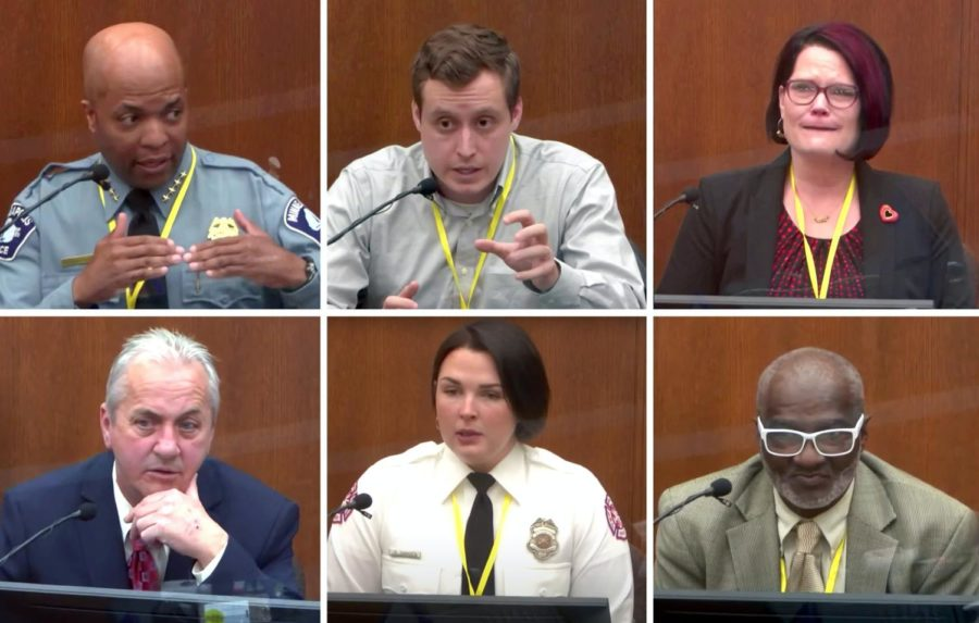 The witnesses at Derek Chauvin's trial. Photo courtesy of the Star Tribune.