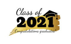 Class of 2021. Hand drawn brush gold stripe and number with education academic cap. Template for graduation party design, high school or college congratulation graduate, yearbook. Vector illustration.